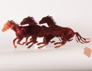 """Running Horses"" 3 Medium Steel Wall Mount in Orange"