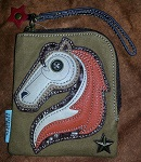 Zip Wallet with Chala Horse - Brown