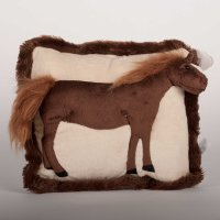 3-D Plush Standing Horse on pillow - Bay Horse
