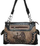Handbag with Embroidered Horse in Distressed Brown