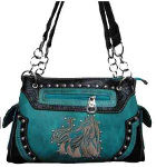 Handbag with Embroidered Horse in Distressed Turquoise