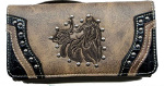 Tooled Embroidered Artistic Horse Wallet in Distressed Brown