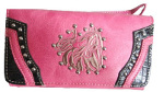 Tooled Embroidered Artistic Horse Wallet in Pink