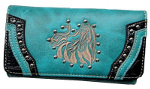 Tooled Embroidered Artistic Horse Wallet in Turquoise