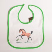 Bay Foal and Frog Green Trimmed Baby Bib