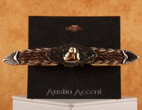 Barrel Racer on Woven Brown and White Horse Hair Barrette