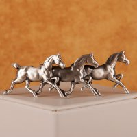 Trio of Running Thoroughbreds with bobbed tails in silver matte