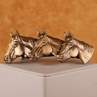 3 Horses in profile barrette in brass matte