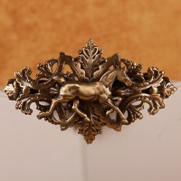 Thoroughbred with bobbed tail on ornate barrette in Brass matte