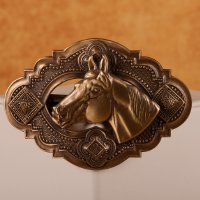 Western Concho Barrette with Horse Head in Brass matte finish