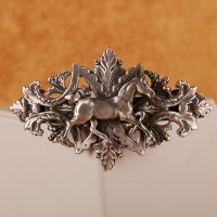 Thoroughbred with bobbed tail on ornate barrette in Silver matte