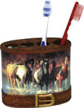 "Tooth Brush Holder - ""Rush Hour"" horse image"