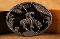 """End of the Trail"" Belt Buckle featuring Indian Brave and horse"