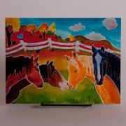 Four Happy Horses Friendship Birthday Card - Oil Painting Style