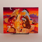 Horses around a Campfire Singing- Fun Birthday Card