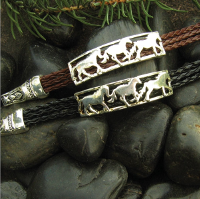 3 Running Horses on Braided Cord - Black