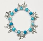 Dangling Horses Bracelet with Fimo Clay Beads in Blue