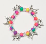 Dangling Horses Bracelet with Fimo Clay Beads in Neon