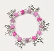 Dangling Horses Bracelet with Fimo Clay Beads in Pink