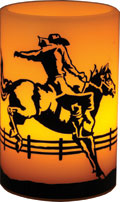 """Bronco Rider"" Horse Themed LED Candle"