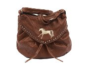 Versatile Embroidered Horse Handbag in Brown Faux Leather