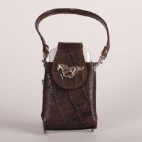 Cell Phone Case - Brown Leather - with Horse Concho and strap