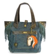 Chala Horse Fringe Tote in Distressed Blue