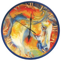 """Mustang West"" Horse theme clock by Marcia Baldwin"