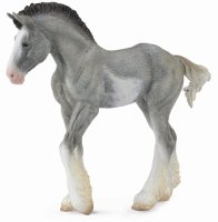 Clydesdale Black Sabion Roan Foal Model Horse Replica