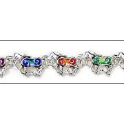 Colorful Enamel Horses Bracelet with Magnetic Clasp