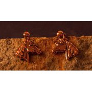 Copper Horse Head Earrings - Post Mount with Dangle