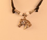 Corded Choker with Dangle Horse Head Pendant
