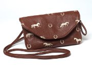 Purse with Embroidered Horse in Brown Faux Leather
