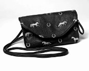 Embroidered Horse Purse in Black Ultra Soft Faux Leather