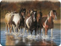 Horses Running down a River Cutting Board