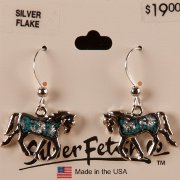Trotting horse earrings with Silver Flake insert