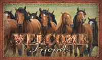 """Welcome Friends"" Horse Doormat Featuring a Herd of Horse"