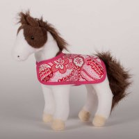 """Daphne"" Pinto Plush Horse with removable pink blanket"