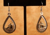 Hand Embossed Barrel Racer Teardrop Earrings in Gold and Silver