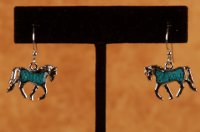 Trotting horse earings with Turquoise Flake insert