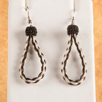 Woven Horse Loop Earrings - Brown and White