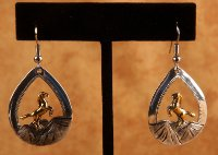 Rearing Horse Tear Drop Earrings with Hand Embossed Mountains