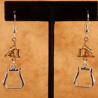 Barrel Racer and Stirrup Earrings in Silver and Gold