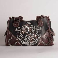 89761bc9db 2 Tone Brown Handbag featuring Embroidered Horses and Horseshoes ...