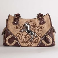 Handbag with Rearing Horse and Embroidery in Tan