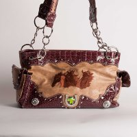 Handbag with 3 Embroidered HorseHeads in Tan