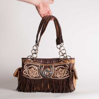 Handbag with Horse head, Horseshoe, Fringe, and Embroidery Tan