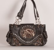Handbag with Embroidered Horse in Black with Brown Trim