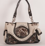 Handbag with Embroidered Horse in Cream with Brown Trim