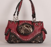 Handbag with Embroidered Horse in Red with Brown Accent Trim
